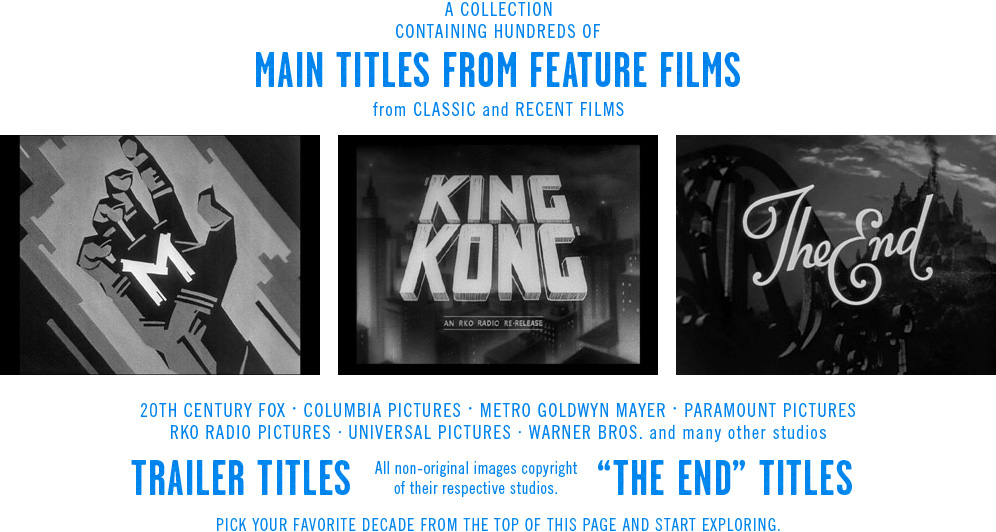 the Movie title stills collection